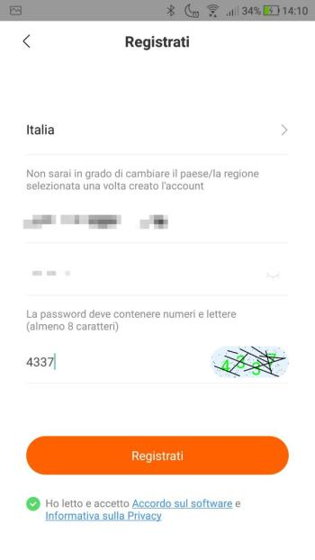 Xiaomi Mi Fit - Crea un account - Email e password inserite