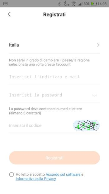 Xiaomi Mi Fit - Crea un account - Inserimento Email e password