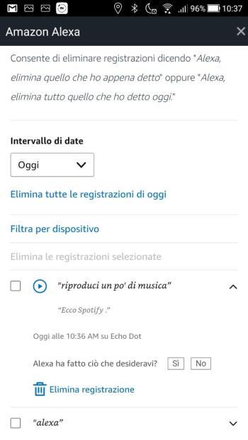 App Alexa - Rivedi la cronologia voce - Dettaglio