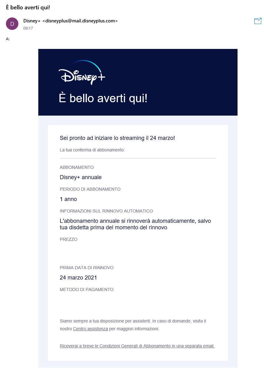 Disney+ -Email conferma abbonamento attivato