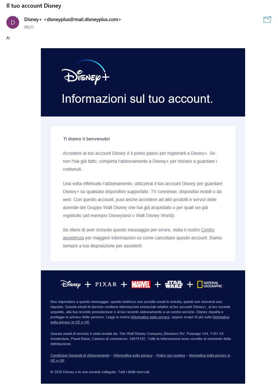 Disney+ -Email informazioni account