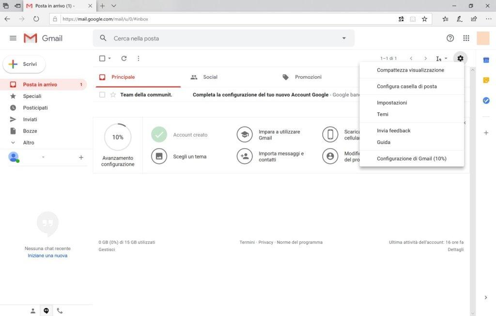 Gmail - Interfaccia web - Menù configurazioni