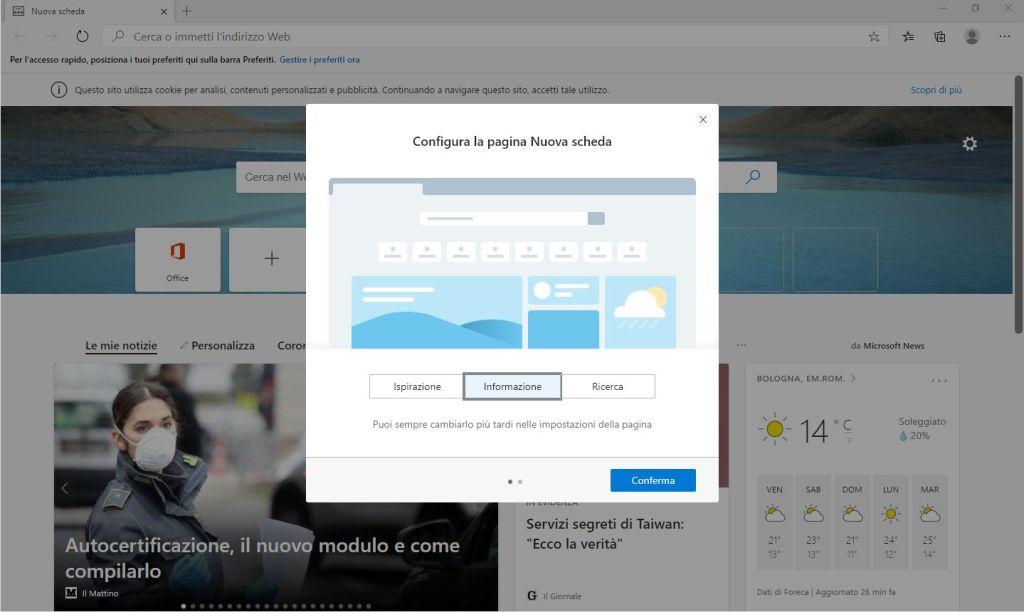 Nuovo Microsoft Edge Chromium - Configura la pagina Nuova scheda - Informazione
