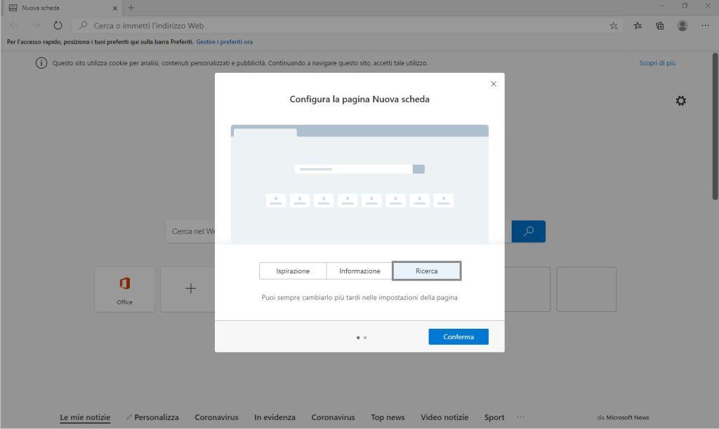 Nuovo Microsoft Edge Chromium - Configura la pagina Nuova scheda - Ricerca