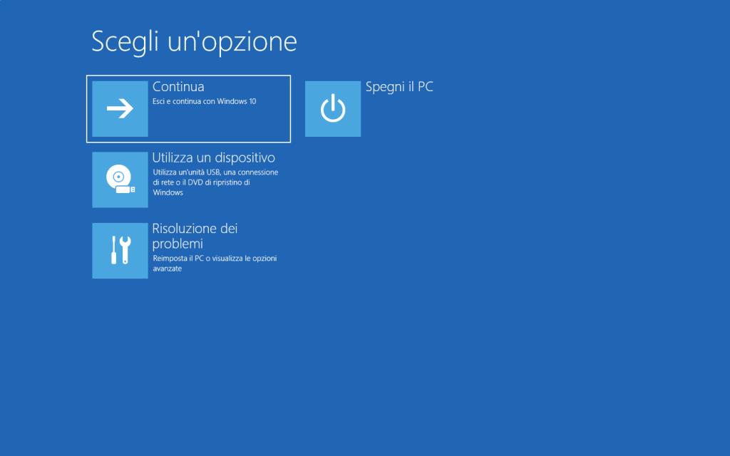 Windows 10 - Scegli una opzione