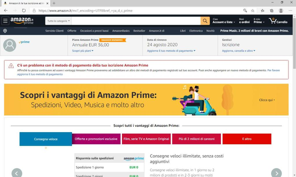 Amazon Prime - Gestione Account