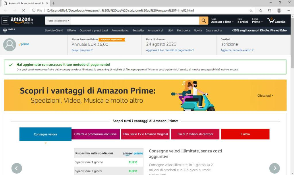 Amazon Prime - Metodo pagamento modificato