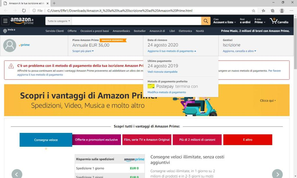 Amazon Prime - Aggiorna il tuo metodo di pagamento