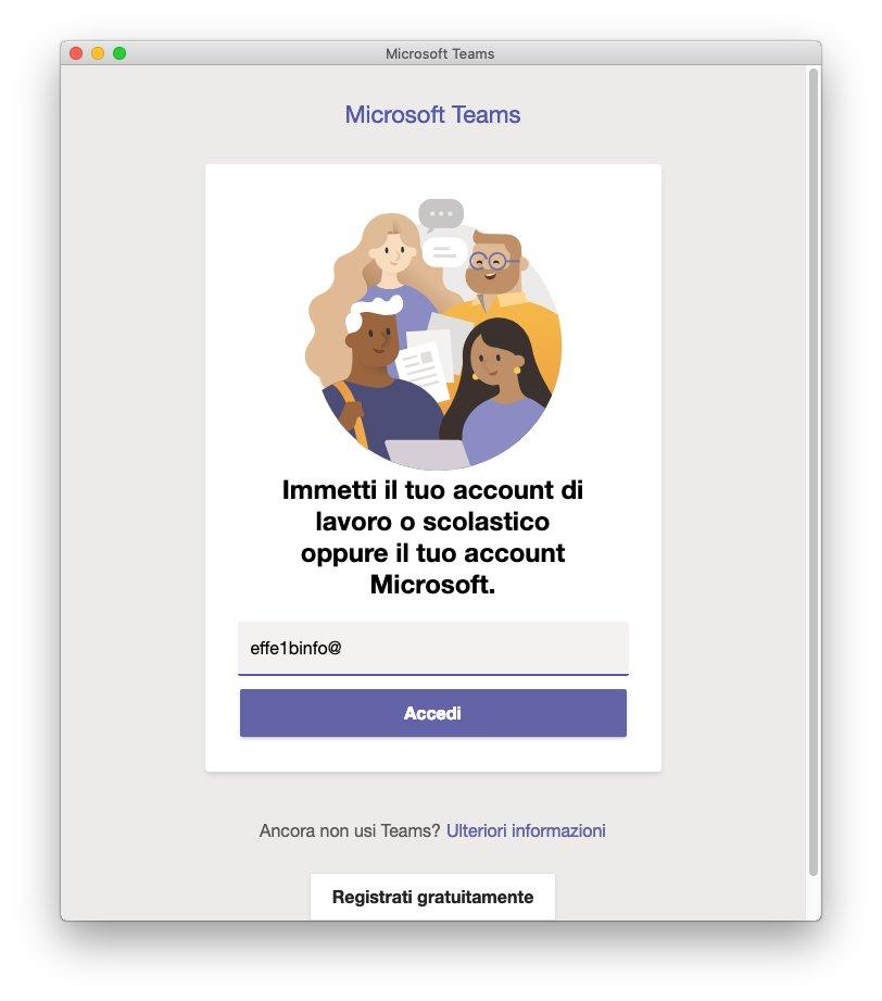 Microsoft Teams macOS - Account inserito