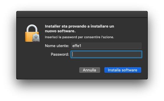 Microsoft Teams macOS - Installazione - Richiesta immissione password