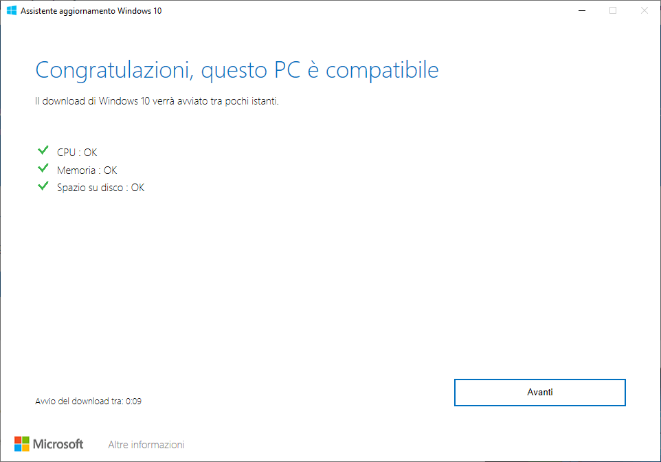 Windows 10 - 20H2 - Questo PC è compatibile