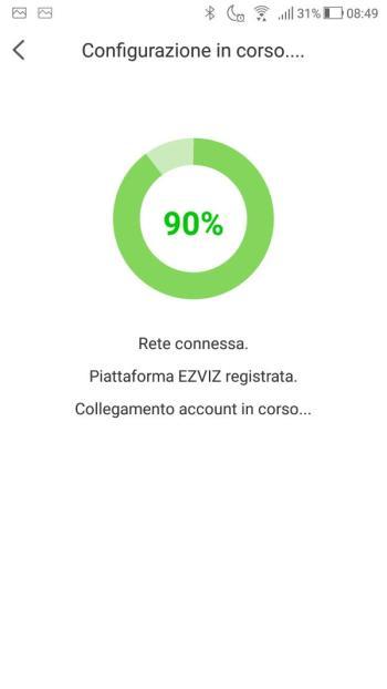 App EZVIZ - Collegamento account in corso