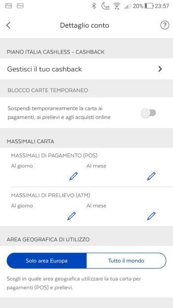 App BancoPosta - Dettaglio conto- Sezione Cashback