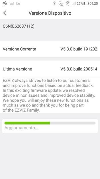 App EZVIZ - Aggiornamento firmware in corso