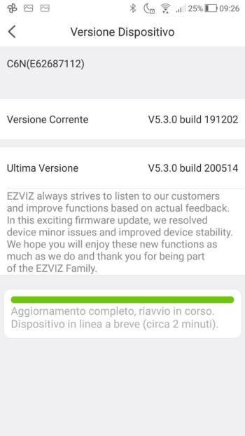 App EZVIZ - Aggiornamento firmware - Riavvio