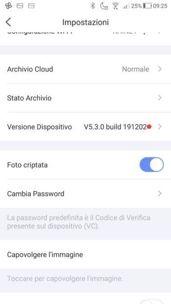 App EZVIZ - Impostazioni Firmware