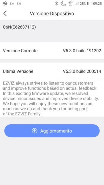 App EZVIZ - Versione Dispositivo