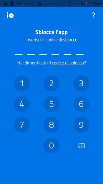 App IO - Codice di sblocco