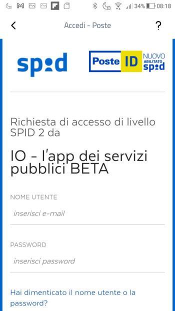 App IO - SPID - PosteID - Login