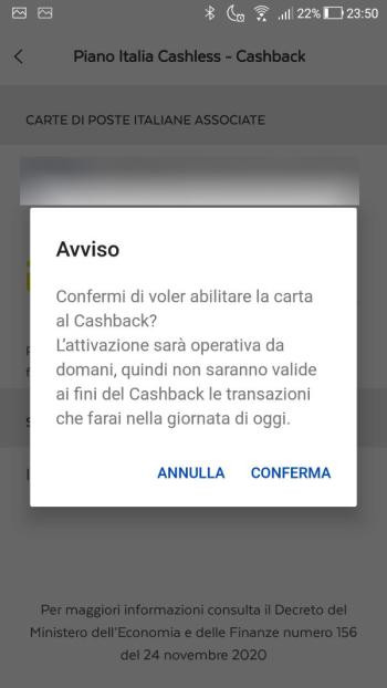 App PostePay - Cashback - richiesta attivazione