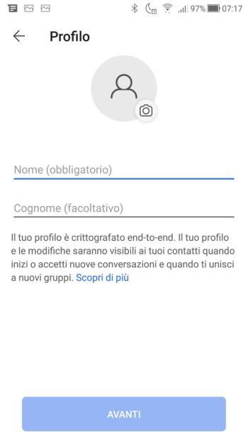 App Signal - Compilazione Nome e Cognome