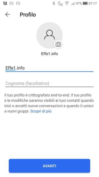 App Signal - Nome e Cognome compilati
