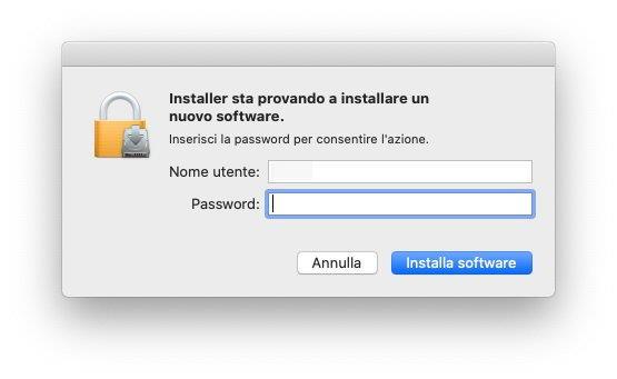 macOS - Microsoft .Net Framework - Installazione - Password