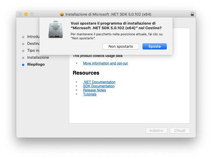macOS - Microsoft .Net Framework - Installazione - Cancella setup