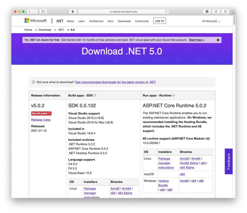 macOS - Microsoft .Net Framework - Select Release