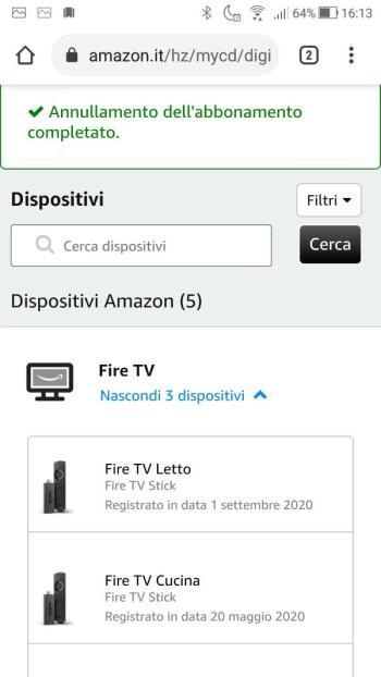 Amazon - Il Mio account - Dispositivi - Fire TV - Annullamento dell'abbonamento completato