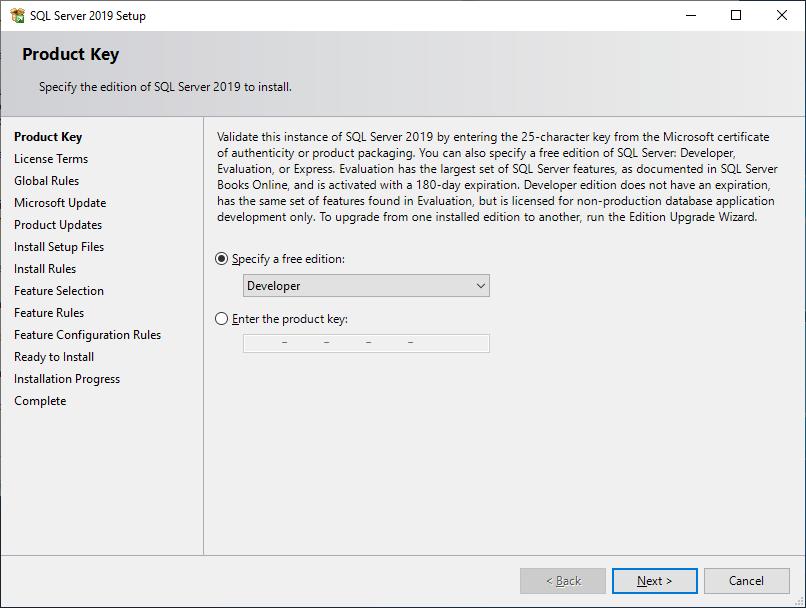 Microsoft Sql Server 2019 - Setup - Product Key