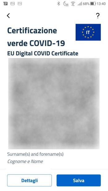 App IO - Green Pass - Covid-19 - Certificato