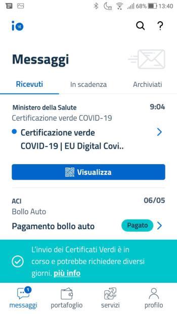 App IO - Green Pass - Covid-19