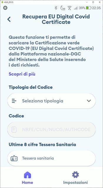 Immuni - Recupera EU Digital Covid Certificate