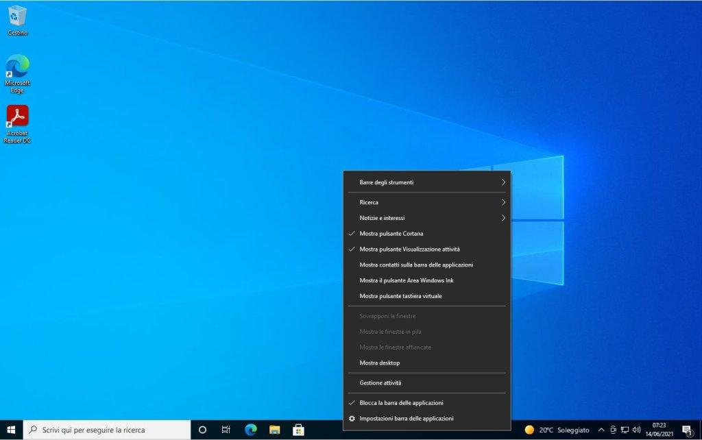 Windows 10 - Barra degli strumenti - Menù contestuale