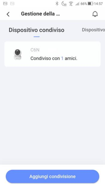 EZVIZ - Gestione della condivisione - Dispositivo Condiviso - Elenco
