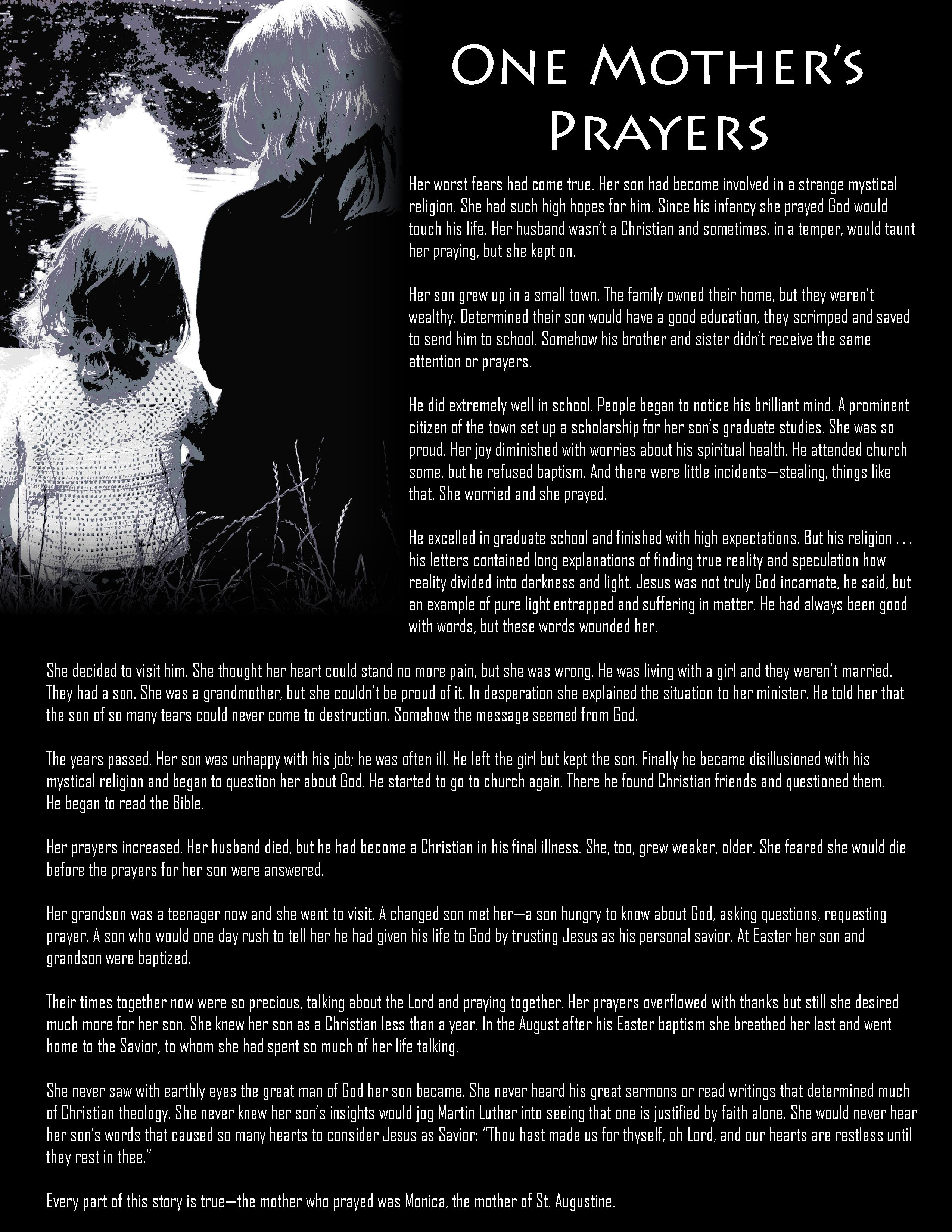 one mother u0027s prayer u2014essential encouragement handout bulletin