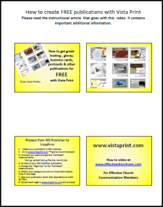 Handouts for Free Vista Print Video
