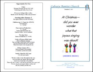 Church Bulletin Samples Effective Church Communications