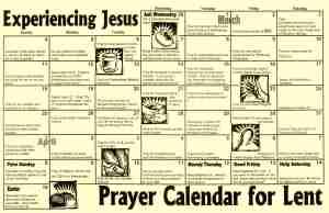 Lenten Calendar with an emphasis on prayer