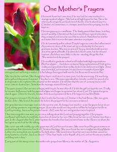 One Mother's Prayer, a free and inspiring story for however you want to use it for Mother's Day