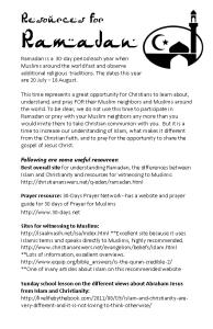 Ramadan Resources bulletin insert, b & white image