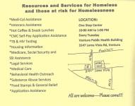 Homeless Resource List Card