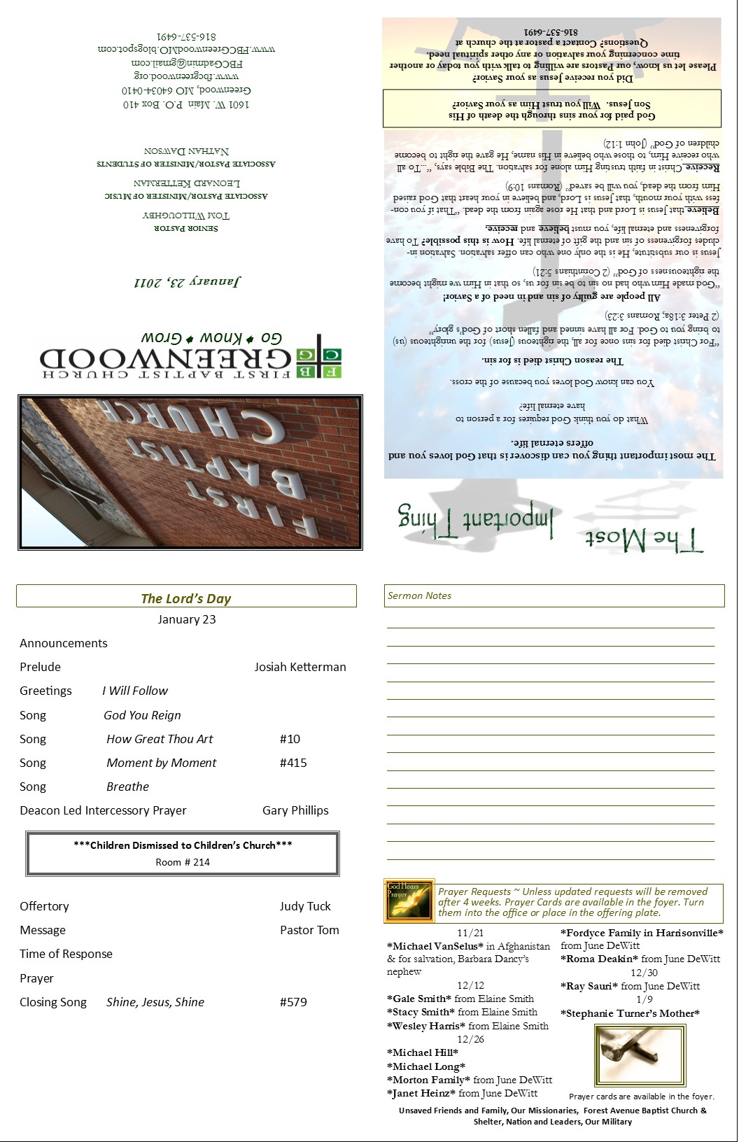 Church Bulletin Template | Effective Church Communications