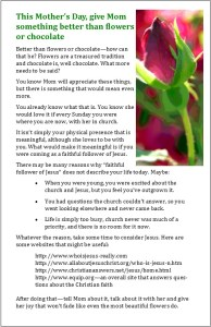 Bulletin insert for Mother's Day