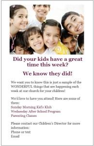 VBS return to church flyers