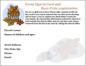 Fall Event Registration Card