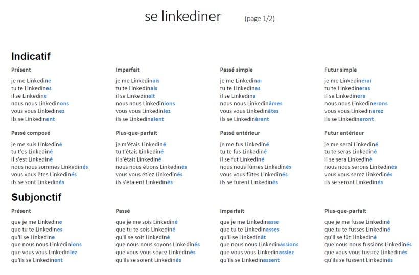 Conjugaison Verbe Se Linkediner Page 1