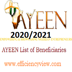 AYEEN Program List of Beneficiaries 2020/2021 for Successful Shortlisted Candidates