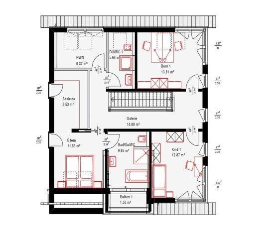 Der Grundriss für das Obergeschoss des Musterhauses in Fellbach